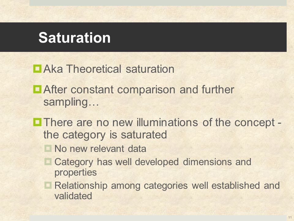 Saturation  Aka Theoretical saturation  After constant comparison and further sampling…  There are no new illuminations of the concept - the catego