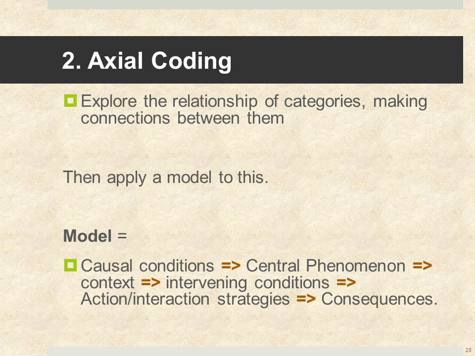 2. Axial Coding  Explore the relationship of categories, making connections between them Then apply a model to this. Model =  Causal conditions => C