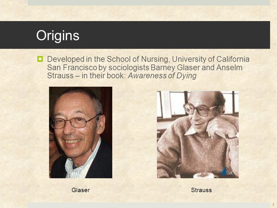 Origins  Developed in the School of Nursing, University of California San Francisco by sociologists Barney Glaser and Anselm Strauss – in their book: