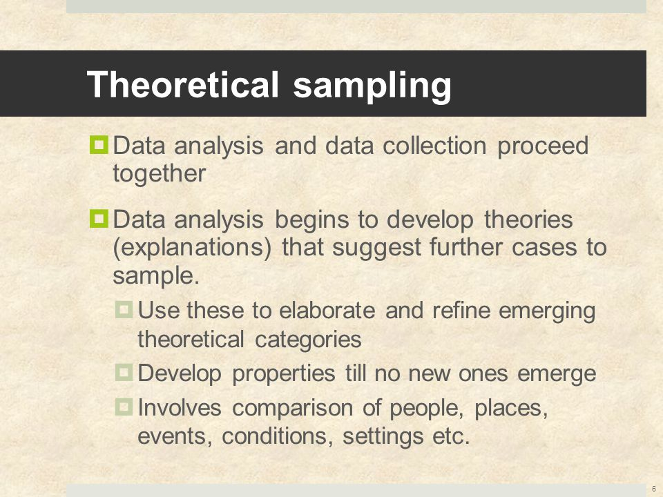Theoretical sampling  Data analysis and data collection proceed together  Data analysis begins to develop theories (explanations) that suggest furth