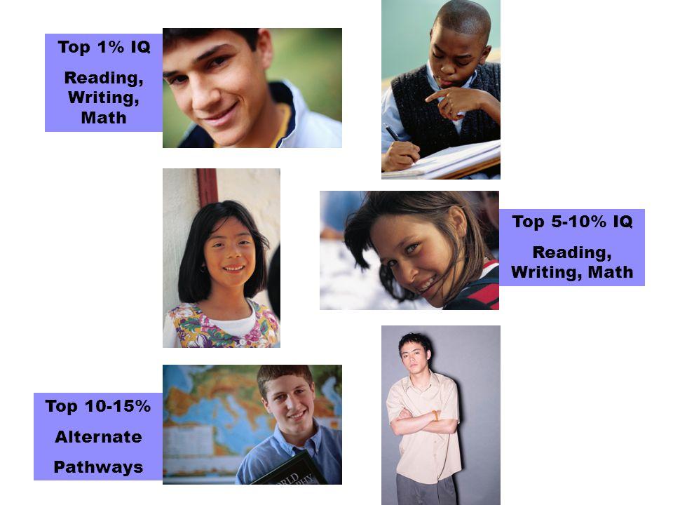 Top 1% IQ Reading, Writing, Math Top 5-10% IQ Reading, Writing, Math Top 10-15% Alternate Pathways