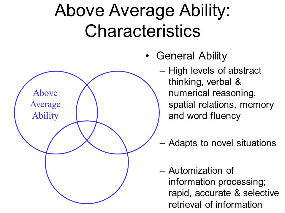 Above Average Ability: Characteristics General Ability –High levels of abstract thinking, verbal & numerical reasoning, spatial relations, memory and