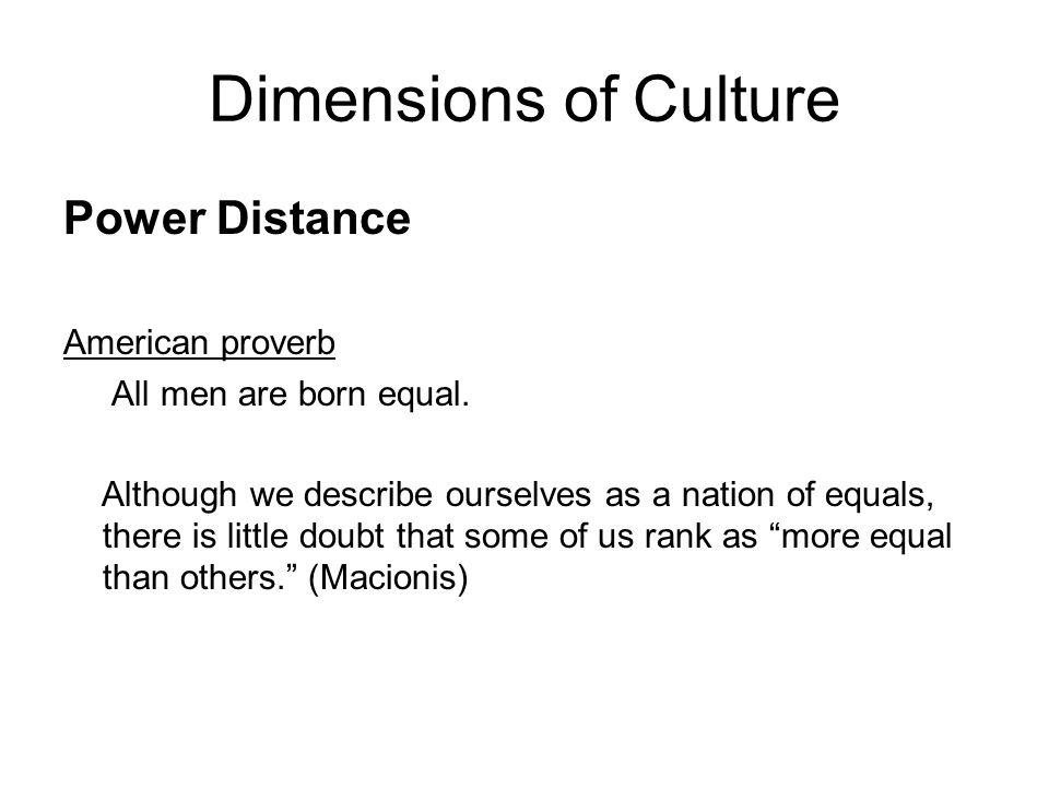 Dimensions of Culture Power Distance American proverb All men are born equal.