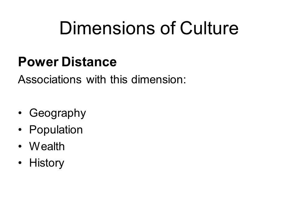 Dimensions of Culture Power Distance Associations with this dimension: Geography Population Wealth History