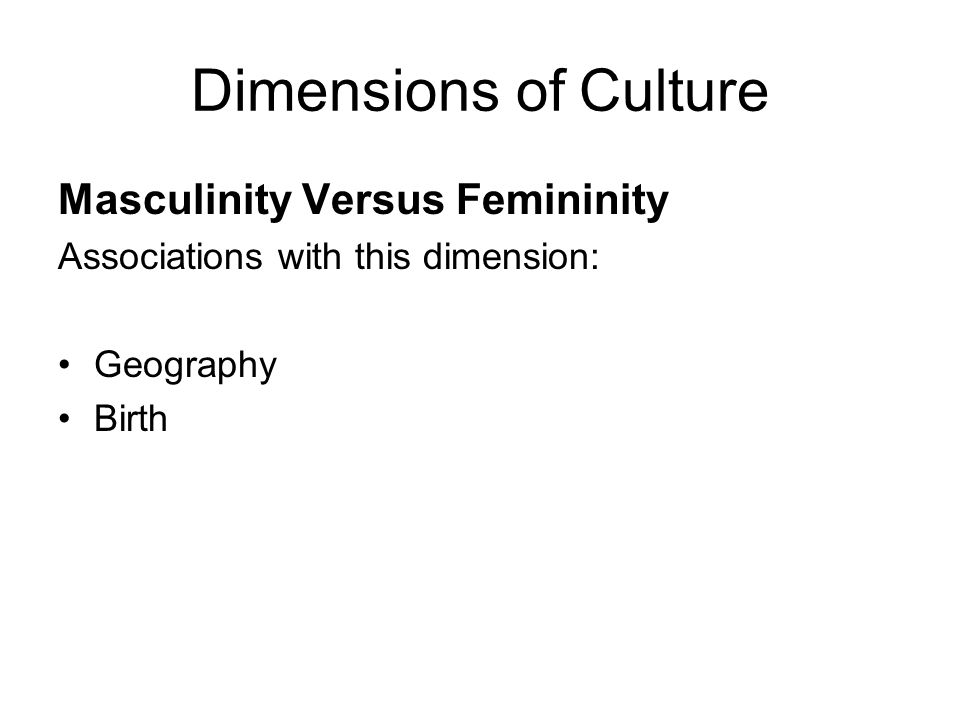 Masculinity Versus Femininity Associations with this dimension: Geography Birth