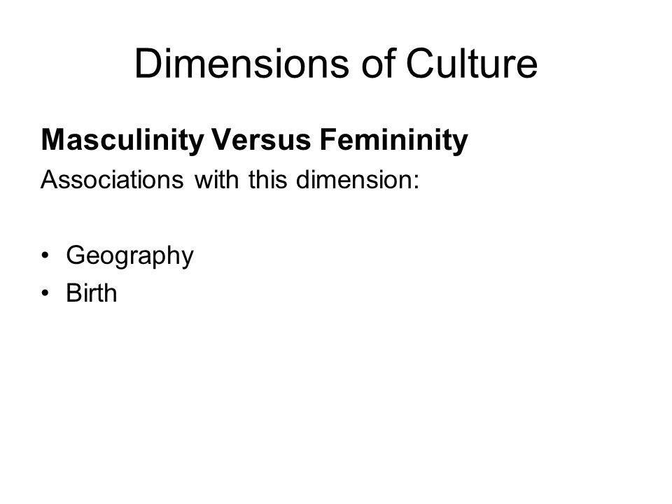 Dimensions of Culture Relationship- Driven versus Task- Driven Relationship- driven  feminine culture, high- context ones Task- driven -  masculine culture, low- context ones