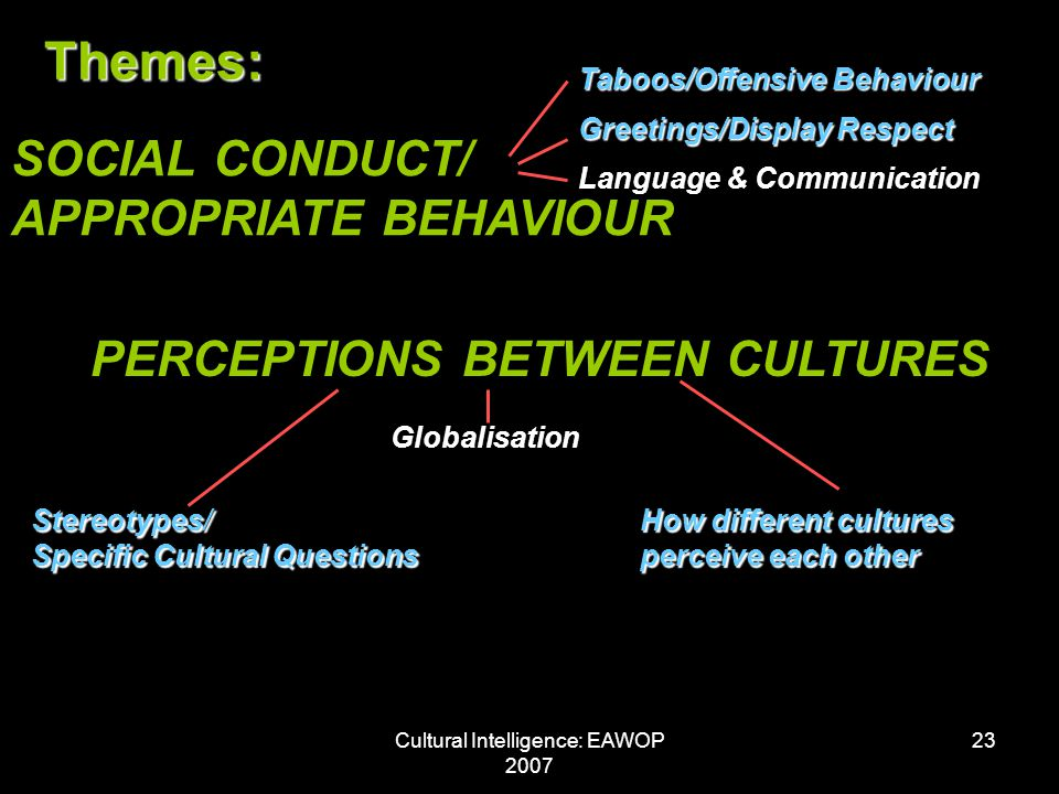 Cultural Intelligence: EAWOP 2007 23 Themes: SOCIAL CONDUCT/ APPROPRIATE BEHAVIOUR Taboos/Offensive Behaviour Greetings/Display Respect Language & Communication PERCEPTIONS BETWEEN CULTURES How different cultures perceive each other Stereotypes/ Specific Cultural Questions Globalisation
