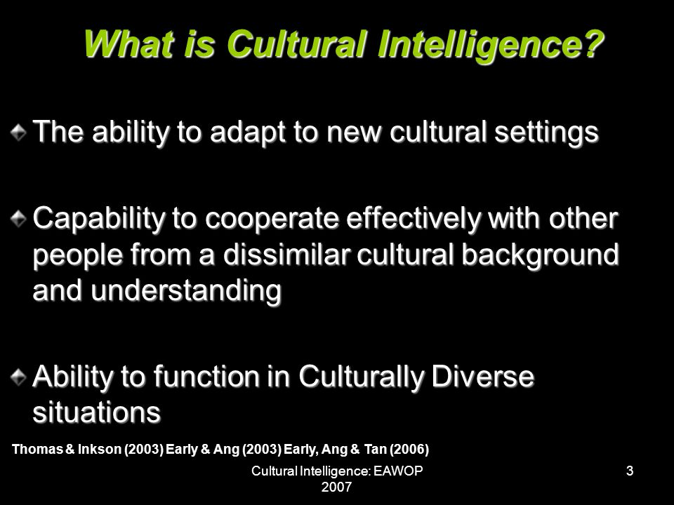 Cultural Intelligence: EAWOP 2007 24 Managers in SA state that CI is important as key competence in multicultural settings Managers are positively inclined towards learning more about different cultures, especially through active participation in cultural events, learning new languages and interaction with other cultures The achievement of organisational goals take preference above cultural intelligence Discussion & Conclusion