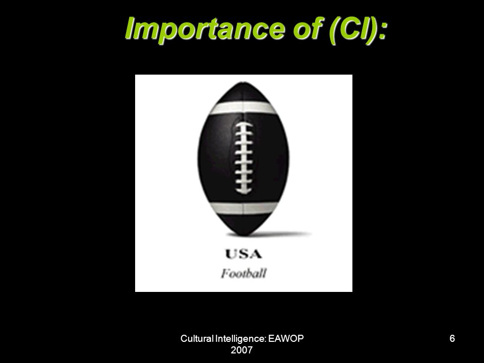 Cultural Intelligence: EAWOP 2007 6 Importance of (CI):