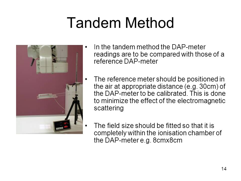 14 Tandem Method In the tandem method the DAP-meter readings are to be compared with those of a reference DAP-meter The reference meter should be posi