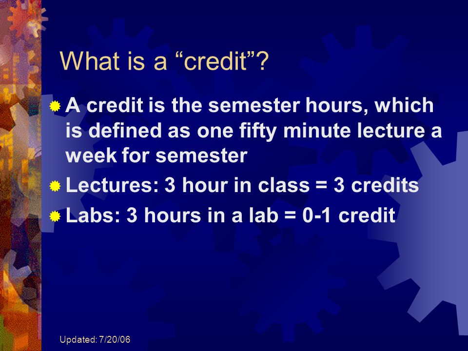 "Updated: 7/20/06 What is a ""credit""?  A credit is the semester hours, which is defined as one fifty minute lecture a week for semester  Lectures: 3"