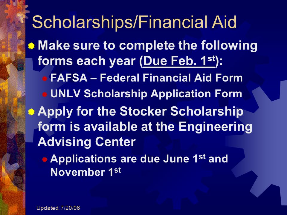 Updated: 7/20/06 Scholarships/Financial Aid  Make sure to complete the following forms each year (Due Feb. 1 st ):  FAFSA – Federal Financial Aid Fo