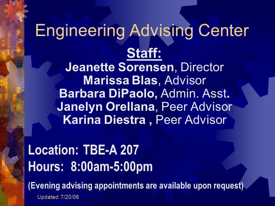 Updated: 7/20/06 Engineering Advising Center Staff: Jeanette Sorensen, Director Marissa Blas, Advisor Barbara DiPaolo, Admin.