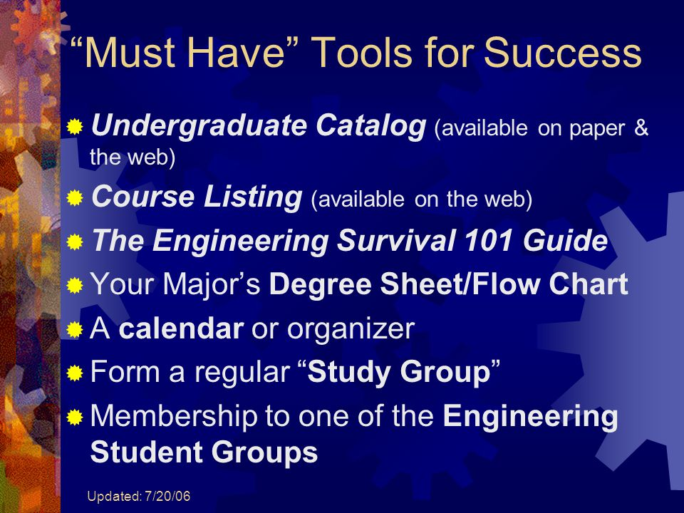"Updated: 7/20/06 ""Must Have"" Tools for Success  Undergraduate Catalog (available on paper & the web)  Course Listing (available on the web)  The En"