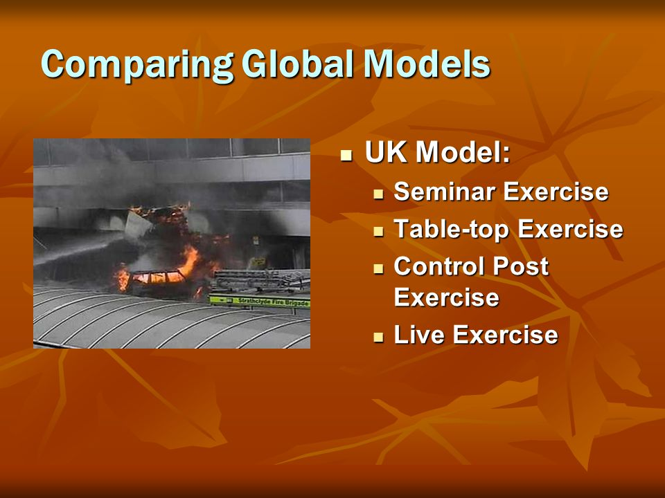Comparing Global Models UK Model: UK Model: Seminar Exercise Table-top Exercise Control Post Exercise Live Exercise