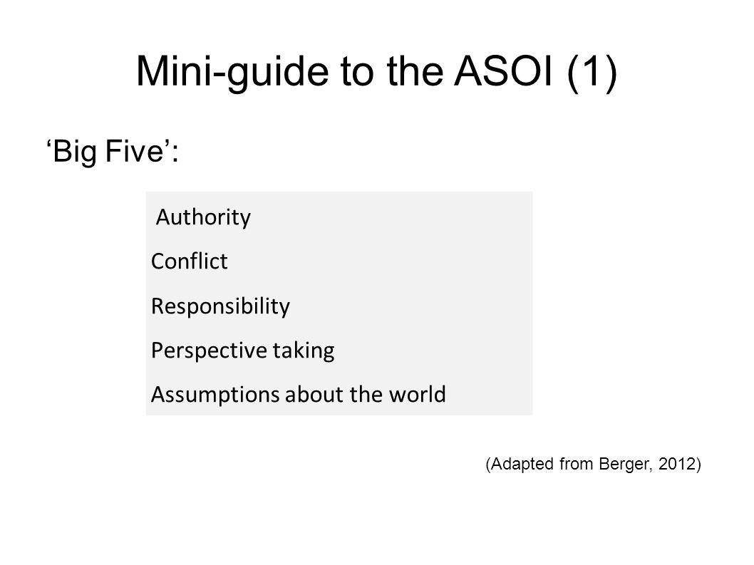 Mini-guide to the ASOI (1) 'Big Five': (Adapted from Berger, 2012) Authority Conflict Responsibility Perspective taking Assumptions about the world
