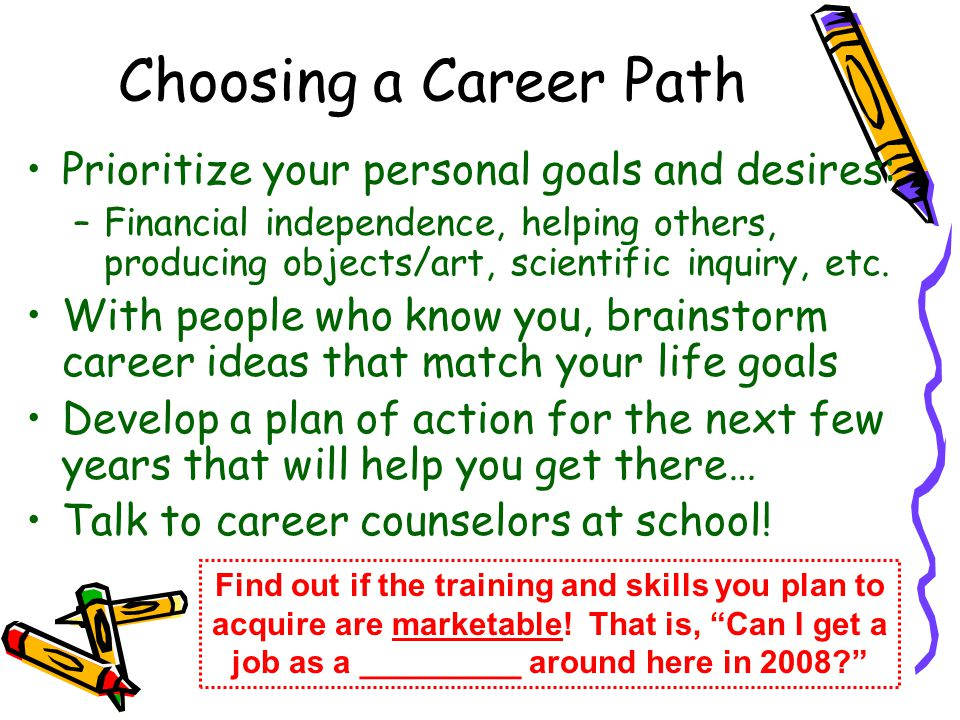 Choosing a Career Path Prioritize your personal goals and desires: –Financial independence, helping others, producing objects/art, scientific inquiry,