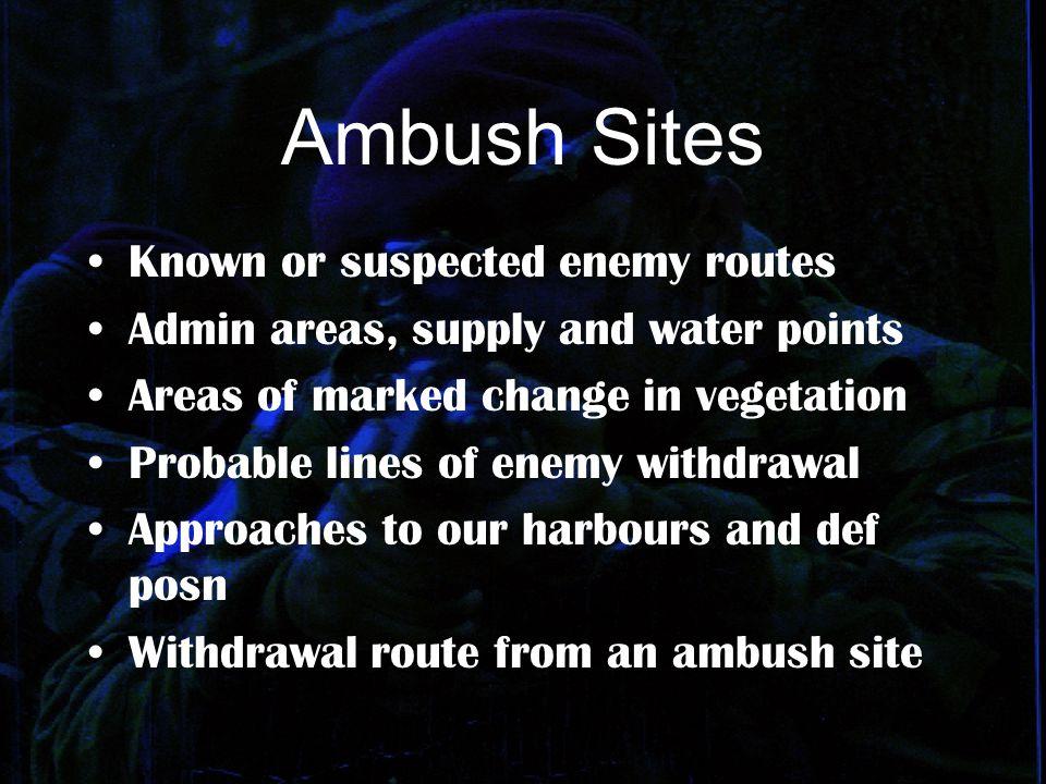 ADVANCE PREPARATION CONTROL AND SIGNALS EQUIPMENT GROUPING COMMUNICATIONS LAYOUT OF AMBUSH ADMINISTRATION CASUALTIES NIGHT AND DAY AMBUSH