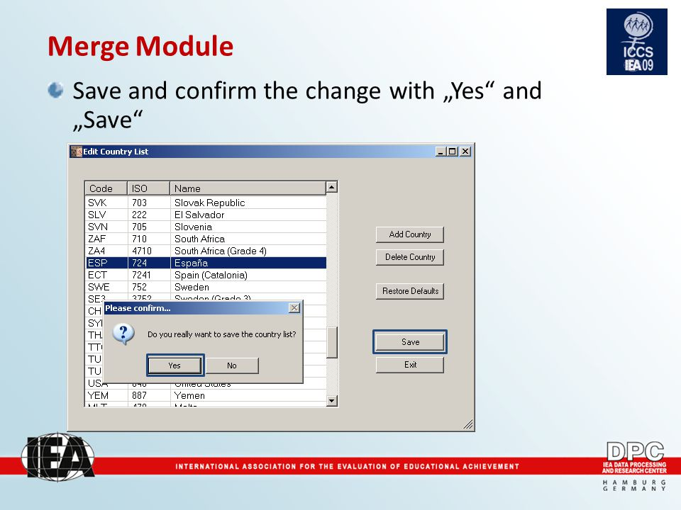 "Merge Module Save and confirm the change with ""Yes and ""Save"