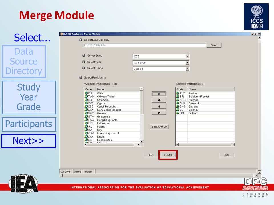 Participants Merge Module Select... Data Source Directory Study Year Grade Next>>