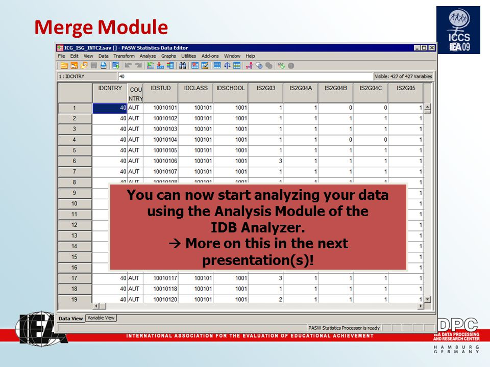 Merge Module You can now start analyzing your data using the Analysis Module of the IDB Analyzer.
