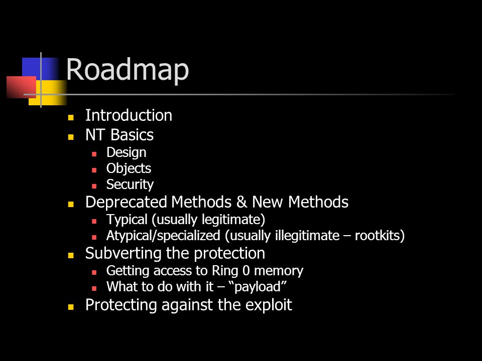 Roadmap Introduction NT Basics Design Objects Security Deprecated Methods & New Methods Typical (usually legitimate) Atypical/specialized (usually ill
