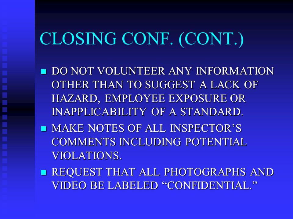 CLOSING CONF.