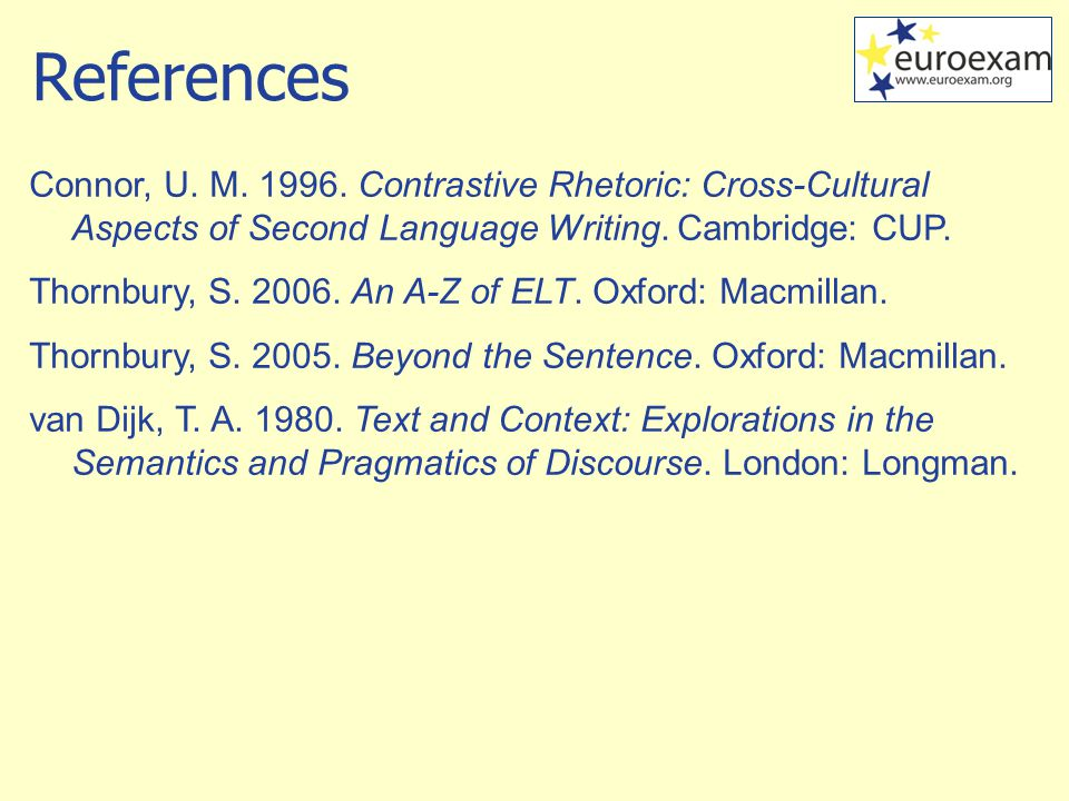 Connor, U. M. 1996. Contrastive Rhetoric: Cross-Cultural Aspects of Second Language Writing.
