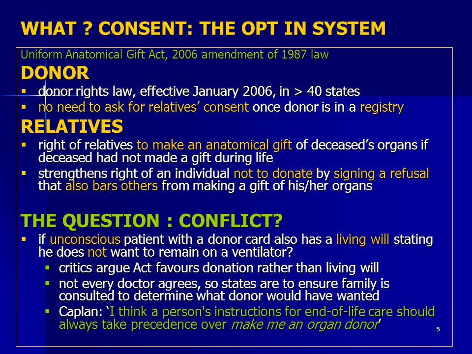 5 WHAT ? CONSENT: THE OPT IN SYSTEM Uniform Anatomical Gift Act, 2006 amendment of 1987 law DONOR  donor rights law, effective January 2006, in > 40