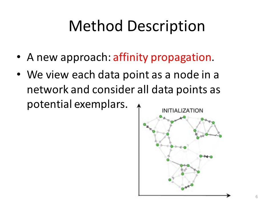Method Description A new approach: affinity propagation. We view each data point as a node in a network and consider all data points as potential exem