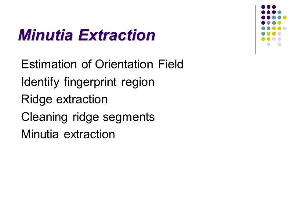 Minutia Extraction Estimation of Orientation Field Identify fingerprint region Ridge extraction Cleaning ridge segments Minutia extraction