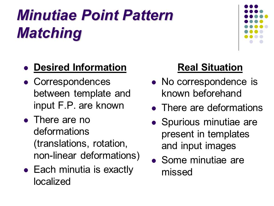 Minutiae Point Pattern Matching Desired Information Correspondences between template and input F.P.