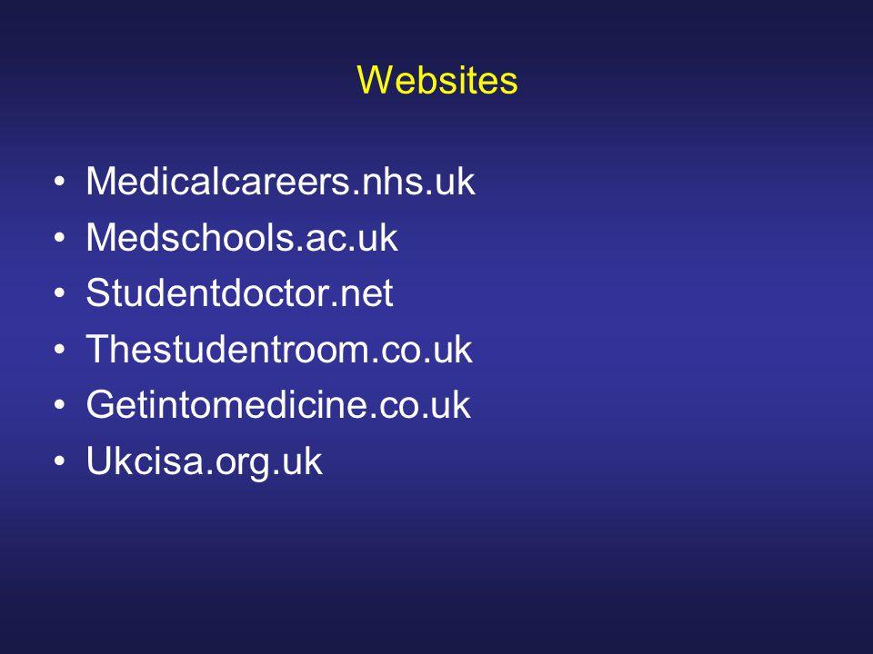 Websites Medicalcareers.nhs.uk Medschools.ac.uk Studentdoctor.net Thestudentroom.co.uk Getintomedicine.co.uk Ukcisa.org.uk
