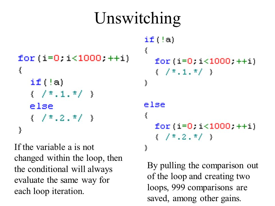 Unswitching If the variable a is not changed within the loop, then the conditional will always evaluate the same way for each loop iteration.