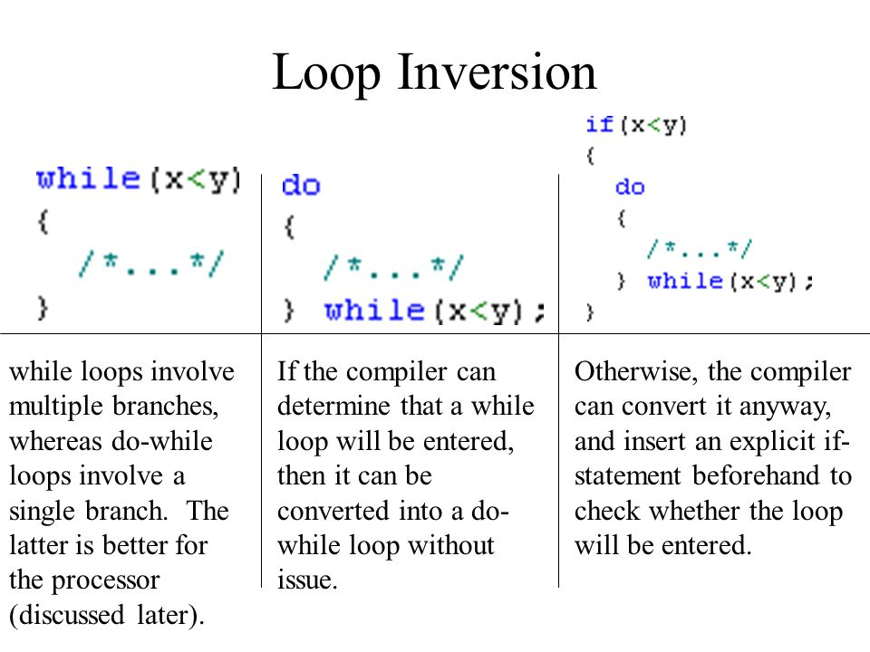 Loop Inversion while loops involve multiple branches, whereas do-while loops involve a single branch.