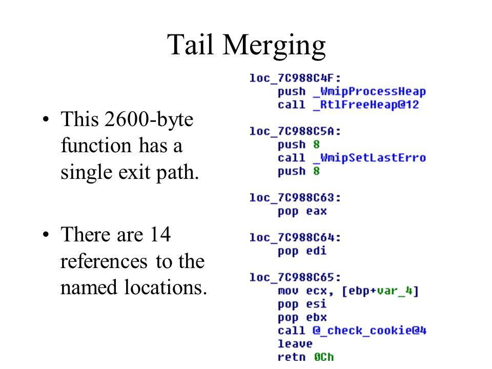 Tail Merging This 2600-byte function has a single exit path.