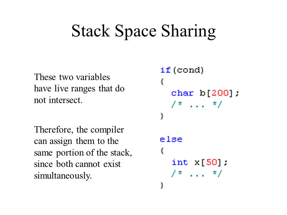Stack Space Sharing These two variables have live ranges that do not intersect.