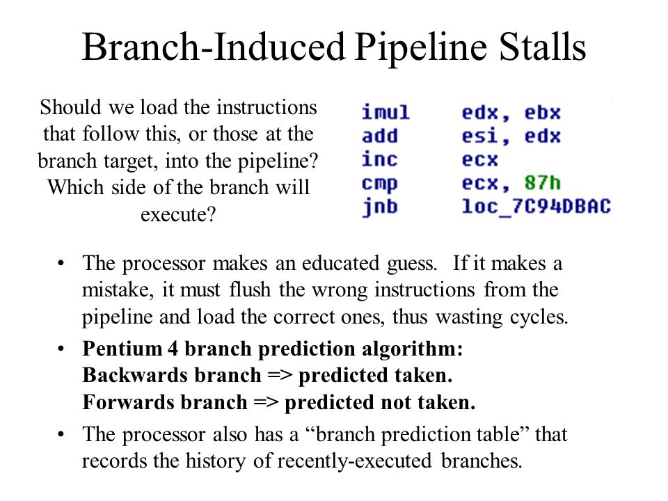 Branch-Induced Pipeline Stalls The processor makes an educated guess.