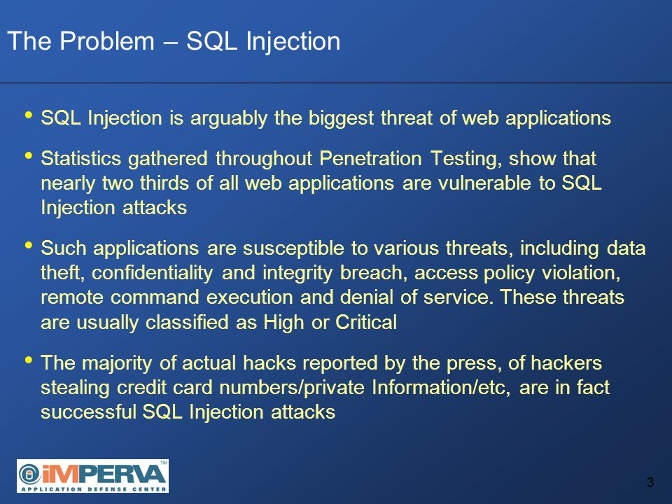 4 The Problem – SQL Injection An application is vulnerable to SQL Injection as a result of faulty programming of the application itself It is not the result of a faulty architecture or bad deployment Claim The Wrong Solution - Applying security measures taken from the infrastructure security domain The Right Solution – Applying security to the application and/or relevant code