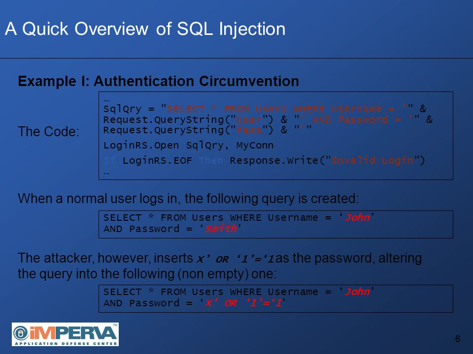 37 SQL Injection Denial of Service A Set of techniques which allow an attacker to launch Denial of Service attacks against databases through SQL Injection Basic DoS techniques require the application to be running with a privileged user, which can perform tasks such as SHUTDOWN, DROP TABLE, DROP DATABASE, etc.