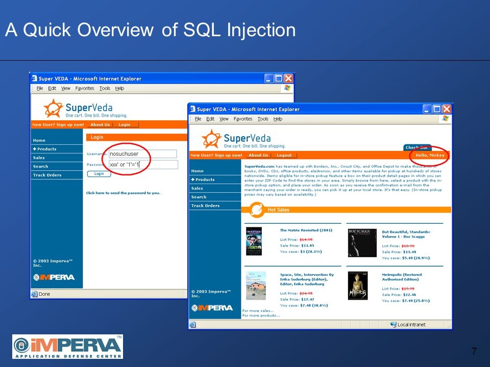 38 SQL Injection DoS: Data Corruption/Destruction While not a classic DoS attack, Data destruction/corruption may often render the application useless Recovery time may be significantly longer – Instead of a reboot, data restoration is required Can often be done on pages which perform DELETE or UPDATE statements, based on a parameter provided by the user Injecting an OR 1=1 (or equivalent) string will cause the query to delete or alter the entire contents of the table.