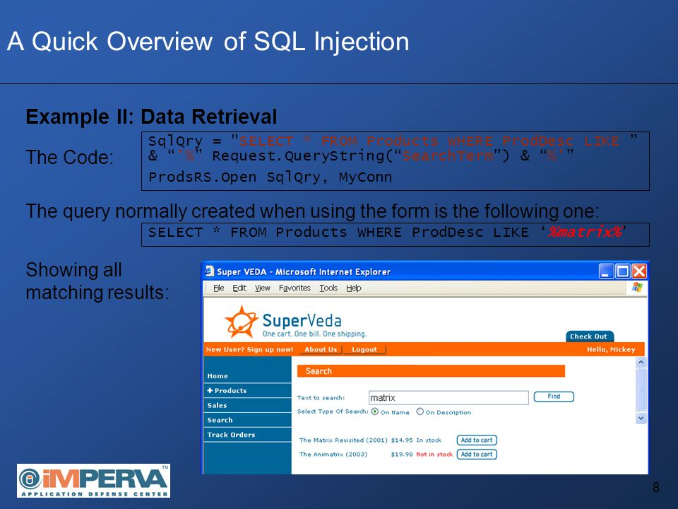19 Blindfolded SQL Injection: UNION SELECT Exploits With Blindfolded SQL Injection all errors are identical, hence some form of differentiation must be found Step #1 – Enumerating the number of columns — Done using an ORDER BY statement — ORDER BY sorts the result by a specific field.