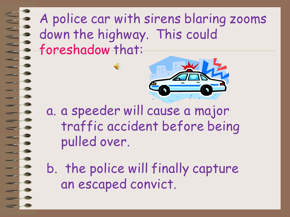A police car with sirens blaring zooms down the highway.