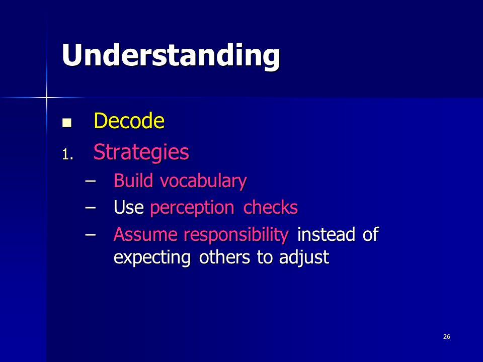 26 Understanding Decode 1. S trategies –B–B–B–Build vocabulary –U–U–U–Use perception checks –A–A–A–Assume responsibility instead of expecting others t