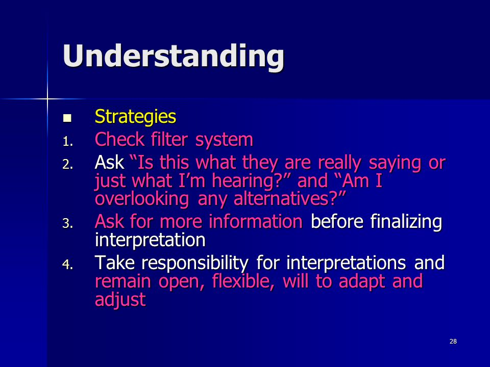 """28 Understanding Strategies 1. C heck filter system 2. A sk """"Is this what they are really saying or just what I'm hearing?"""" and """"Am I overlooking any"""