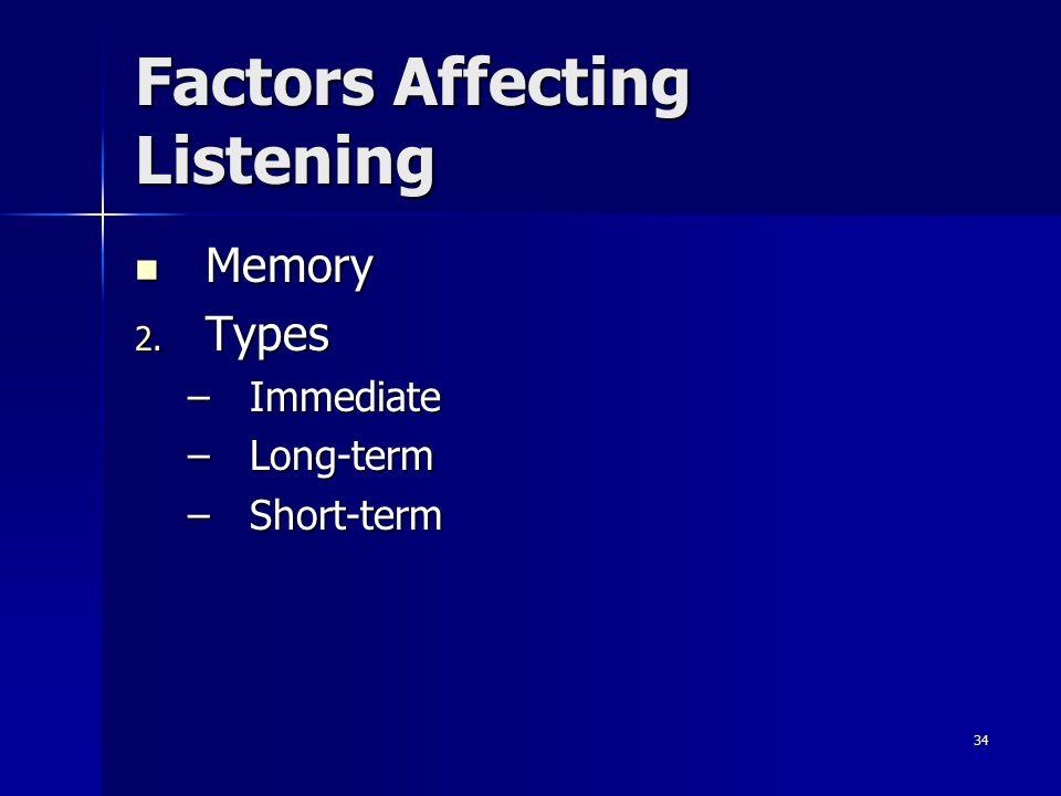 34 Factors Affecting Listening Memory 2. T ypes –I–I–I–Immediate –L–L–L–Long-term –S–S–S–Short-term