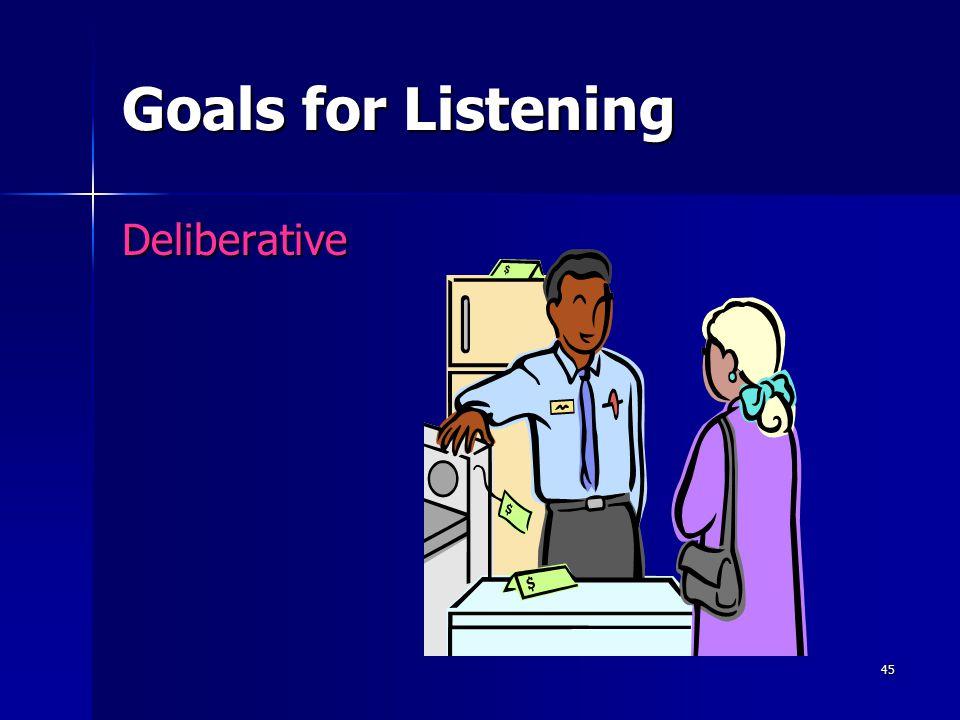 45 Goals for Listening Deliberative