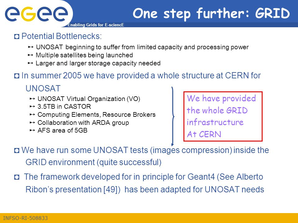 Enabling Grids for E-sciencE INFSO-RI-508833 One step further: GRID ◘ Potential Bottlenecks: ➸ UNOSAT beginning to suffer from limited capacity and processing power ➸ Multiple satellites being launched ➸ Larger and larger storage capacity needed ◘ In summer 2005 we have provided a whole structure at CERN for UNOSAT ➸ UNOSAT Virtual Organization (VO) ➸ 3.5TB in CASTOR ➸ Computing Elements, Resource Brokers ➸ Collaboration with ARDA group ➸ AFS area of 5GB ◘ We have run some UNOSAT tests (images compression) inside the GRID environment (quite successful) ◘ The framework developed for in principle for Geant4 (See Alberto Ribon's presentation [49]) has been adapted for UNOSAT needs We have provided the whole GRID infrastructure At CERN