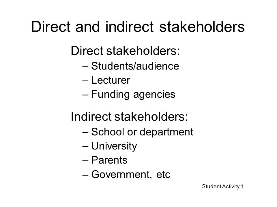 Direct and indirect stakeholders Direct stakeholders: –Students/audience –Lecturer –Funding agencies Indirect stakeholders: –School or department –University –Parents –Government, etc Student Activity 1