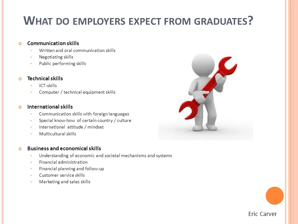 W HAT DO EMPLOYERS EXPECT FROM GRADUATES .